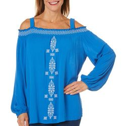 Caribbean Joe Womens Embroidered Cold Shoulder Top