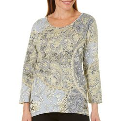 Caribbean Joe Womens Paisley Lace Up Hem Top