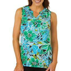 Caribbean Joe Womens Tropical Pineapple Sleeveless Top