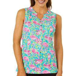 Caribbean Joe Womens Tropical Flamingo Sleeveless Top