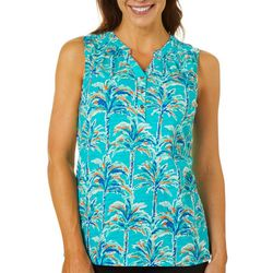 Caribbean Joe Womens Tropical Palm Tree Sleeveless Top