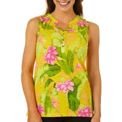 Caribbean Joe Womens Tropical Banana Leaf Sleeveless Top