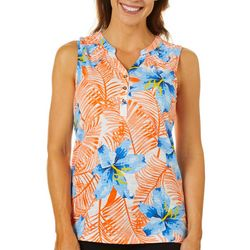 Caribbean Joe Womens Tropical Fern Sleeveless Top