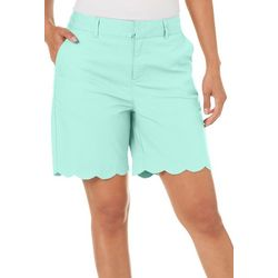 Caribbean Joe Womens Scalloped Hem Solid Shorts