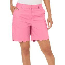 Caribbean Joe Womens Scalloped Hem Solid Shorts