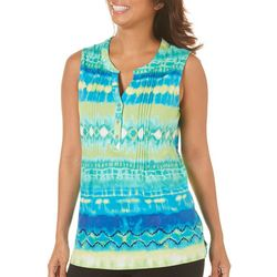 Caribbean Joe Womens Sleeveless Tie Dye Henley Top