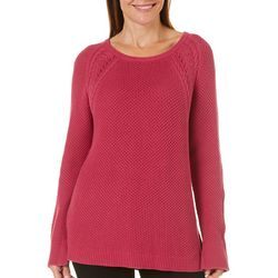 Caribbean Joe Womens Textured Knit Sweater