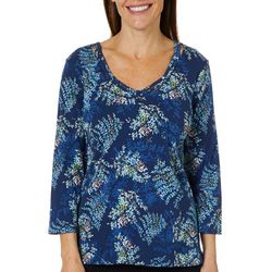 Caribbean Joe Womens Fern Print Caged Neck Top