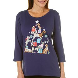 Caribbean Joe Womens Jolly Pet Pyramid Top
