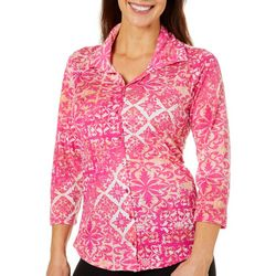 Caribbean Joe Womens Damask Scroll Button Down Top