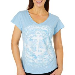 Caribbean Joe Womens Anchor Tie Dye V-Neck Top