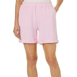 Caribbean Joe Womens Solid Roll Cuff Pull On Shorts