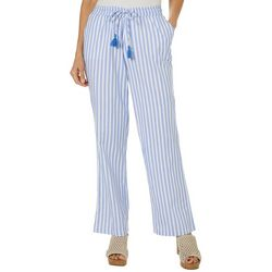 Caribbean Joe Womens Stripe Tassel Drawstring Pants