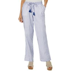 Caribbean Joe Womens Stripe Tassel Drawstring Pants