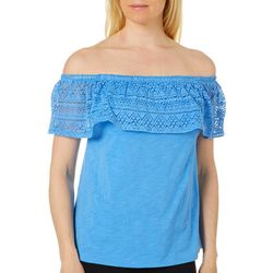 Caribbean Joe Womens Lace Popover Off The Shoulder