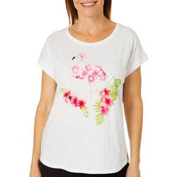 Caribbean Joe Womens Textured Floral Flamingo Top