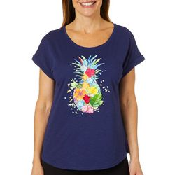 Caribbean Joe Womens Textured Floral Pineapple Top