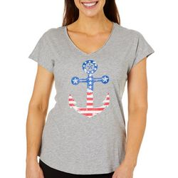 Caribbean Joe Womens Heathered Americana Anchor Top