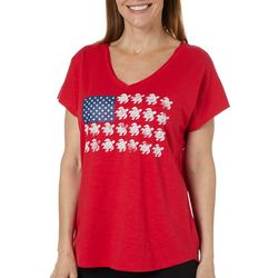 Caribbean Joe Womens Americana Sea Turtle Flag Top