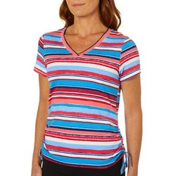 Caribbean Joe Womens Ruched Stripes Top