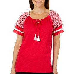 Caribbean Joe Womens Embroidered Crochet Tassel Tie Top
