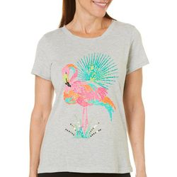 Caribbean Joe Womens Embellished Flamingo T-Shirt