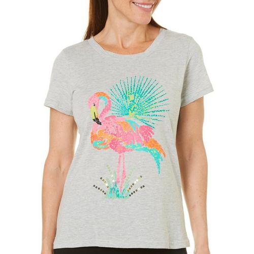 2dada7fd4ed Caribbean Joe Womens Embellished Flamingo T-Shirt