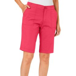 Caribbean Joe Womens Solid Patch Pocket Skimmer Shorts