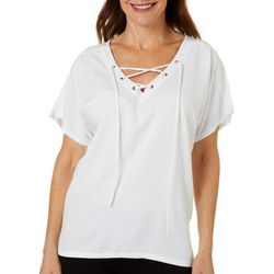 Caribbean Joe Womens Solid Lace Up Neck Top