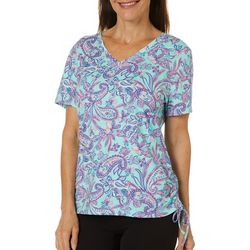 Caribbean Joe Womens Paisley Print Ruched Side Tie Top