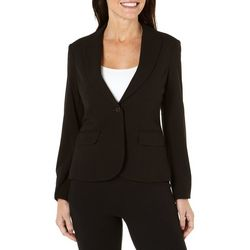 Nue Options Womens One Button Long Sleeve Blazer