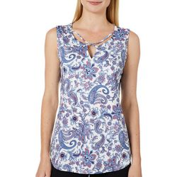 Nue Options Womens Floral Paisley Crisscross Sleeveless Top