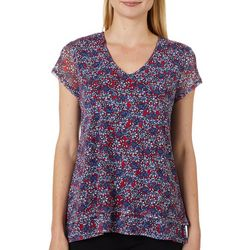 Nue Options Womens Tahiti Floral Print V-Neck Top