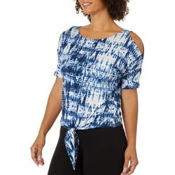 Nue Options Womens Tie Dye Cold Shoulder Tie Front Top