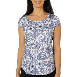 Nue Options Womens Day to Night Paisley Cap Sleeve Top