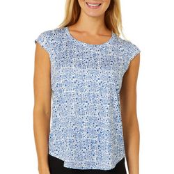 Nue Options Womens Square Dotted Day To Night Cap Sleeve Top