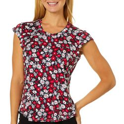 Nue Options Womens Floral Day To Night Cap Sleeve Top