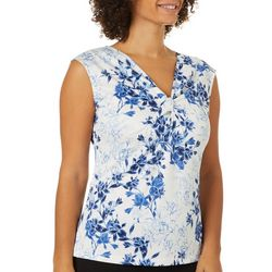 Nue Options Womens Floral Twist Neckline Sleeveless Top