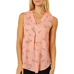 Nue Options Womens Painted Botanical Floral Sleeveless Top