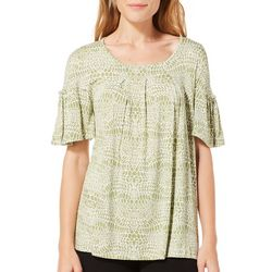 Nue Options Womens Snake Print Pleat Front Top