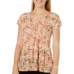 Nue Options Womens Mesh Floral V-Neck Top