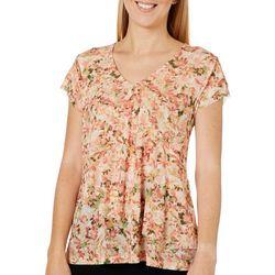 Nue Options Womens Mesh Floral V-Neck Top