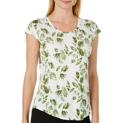 Nue Options Womens Day to Night Leaf Print Cap Sleeve Top