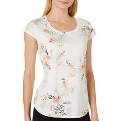 Nue Options Womens Day to Night Botanical Cap Sleeve Top