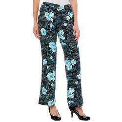Nue Options Womens High Rise Dotted Floral Wide Leg Pants