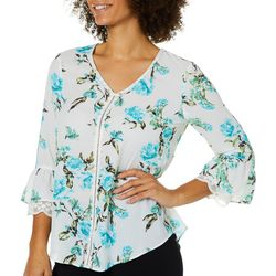 Nue Options Womens Floral Lace Trim Bell Sleeve Top