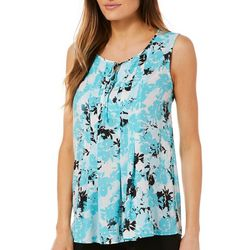 Nue Options Womens Floral Print Tie Neck Sleeveless Top