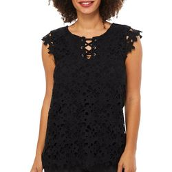Nue Options Womens Crochet Floral Lace-Up Top