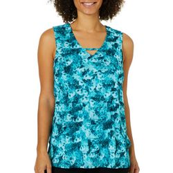 Nue Options Womens Floral Print Tiered Mesh Sleeveless Top