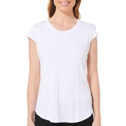 Nue Options Womens Solid Day To Night Cap Sleeve Top
